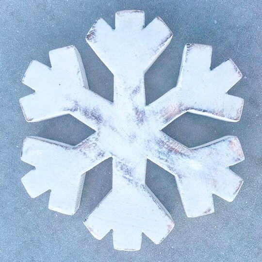 Chunky Wooden Snowflake top