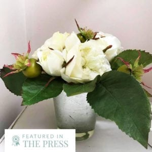 Cream Rose Arrangement in Silver Glass Pot