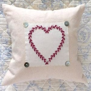 Embroidered Heart Cushion w Button Detail