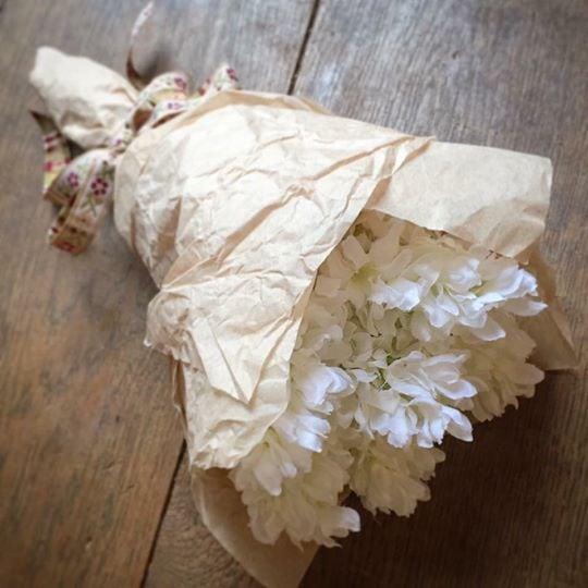 Ivory Silk Hyacinth Bundle Wrapped