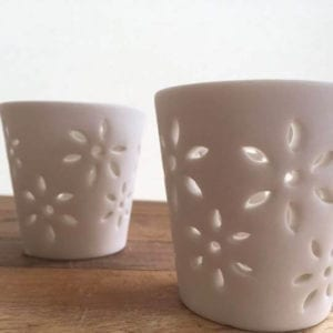 Porcelain Tea-Light Holders with Flower Cut Out.