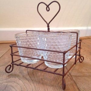 Rustic Metal Heart Tea-Light Holder with 4 x Hobnail Glass Votives