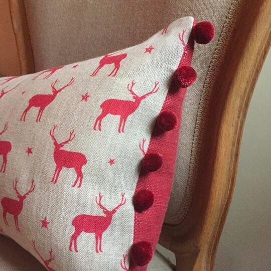 Stag Cushion with Pom Pom and Trim