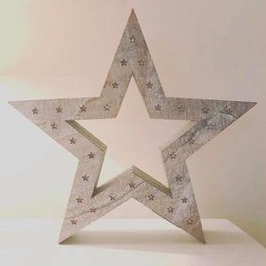 White Wash LED Star
