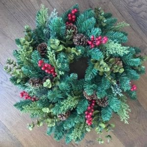 Fir Wreath with Red Berries, Eucalyptus & Pine Cones