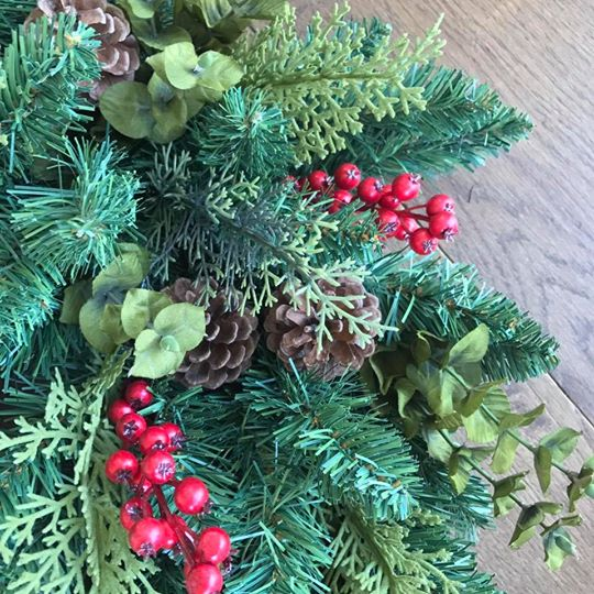 Fir Wreath with Red Berries, Eucalyptus & Pine Cones Close Up