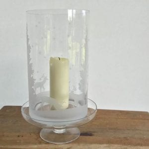 Glass Hurricane Vase with Stags and Trees with Cake Stand Candle