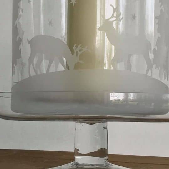 Glass Hurricane Vase with Stags and Trees with Cake Stand