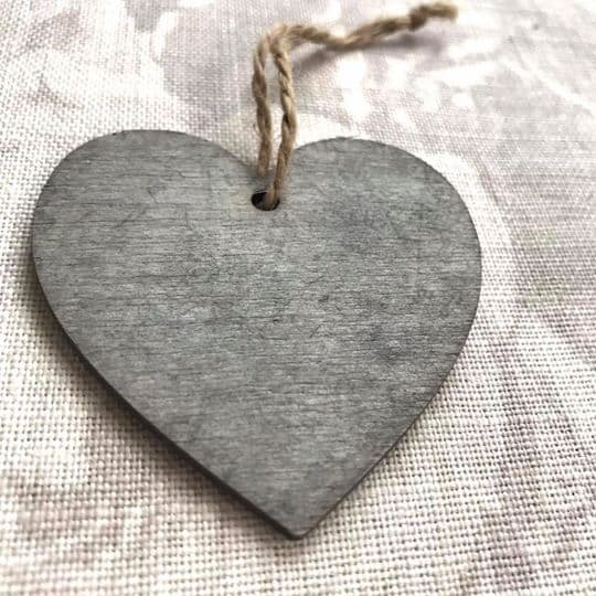 Grey Wooden Hearts close up