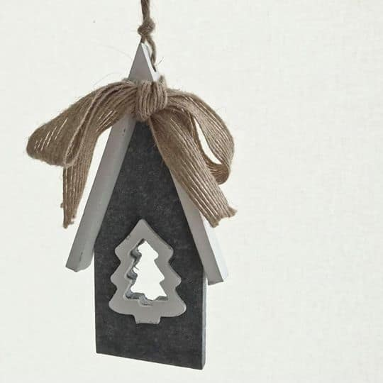 Grey Wooden House Decoration with Tree Cut Out 2