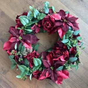 Large Red Silk Wreath with Poinsettia, Roses & Berries