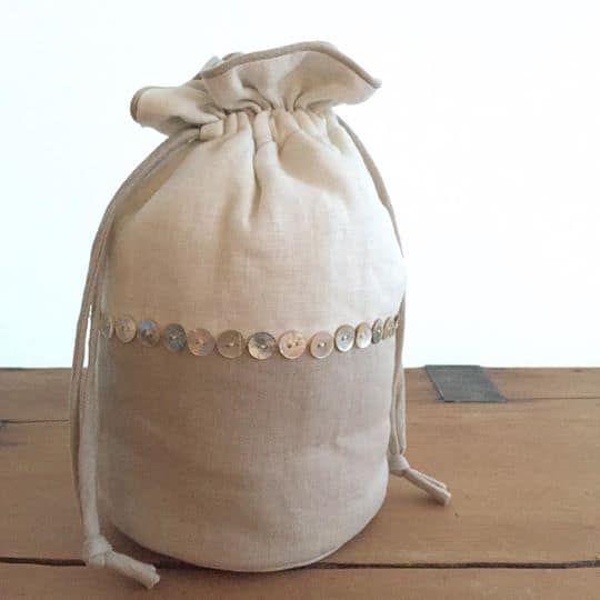 Linen Wash Bag with Mother of Pearl Detail