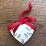 Medium Ivory Hand Painted Heart with Holly