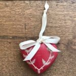 Medium Red Hand Painted Heart with Fir Design