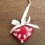 Medium Red Hand Painted Heart with Holly