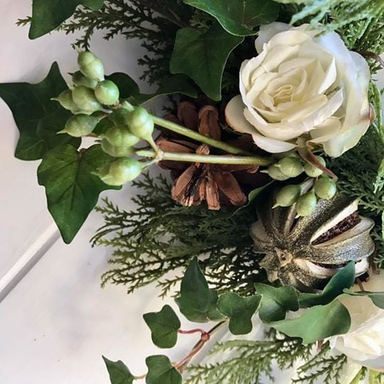 Medium Wreath : Candle Ring with Cream Roses, Dried Limes, Cones & Snowberries
