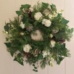 Medium Wreath Candle Ring with Cream Roses, Dried Limes, Cones & Snowberries Close Up