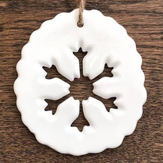 Porcelain Snowflake Decoration Close Up 1