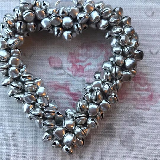 Save Small Silver Bell Heart Decoration Close Up