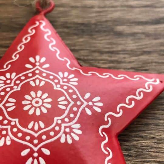 Share Save Tin Folk Art Star Decoration Closer