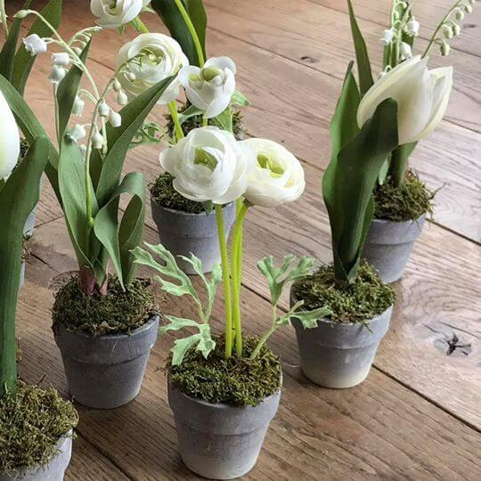 Silk Potted Spring Flowers