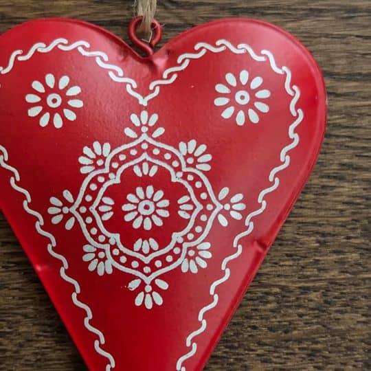Tin Folk Art Heart