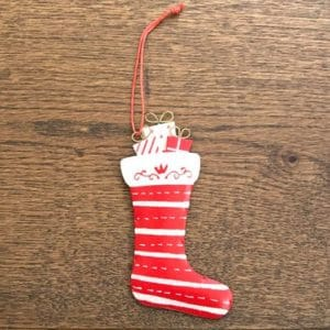 Tin Red Stocking Decoration