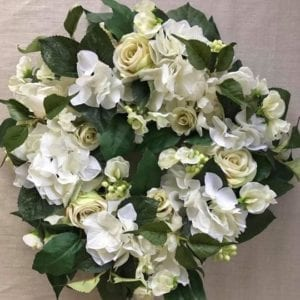 White & Ivory Silk Floral Wreath-Candle-Ring