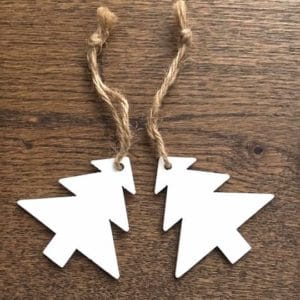 White Wooden Christmas Tree Decorations