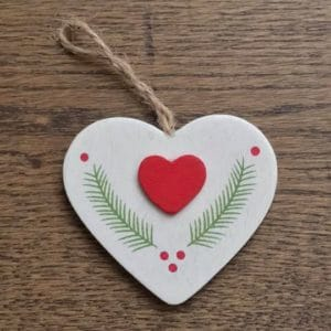 Wooden Heart Decoration with Laurel Design