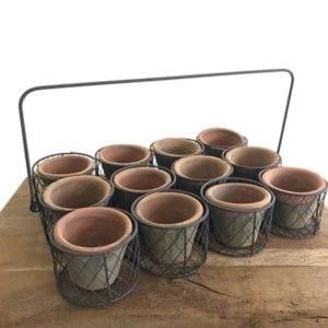 12 Terracotta Herb Pots in Wire Carrier