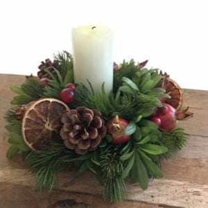 Candle Ring with Orange, Crab Apple & Cones
