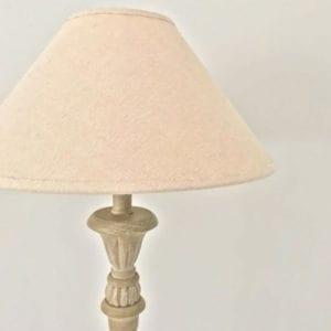Candlestick Lamp Base & Linen Shade