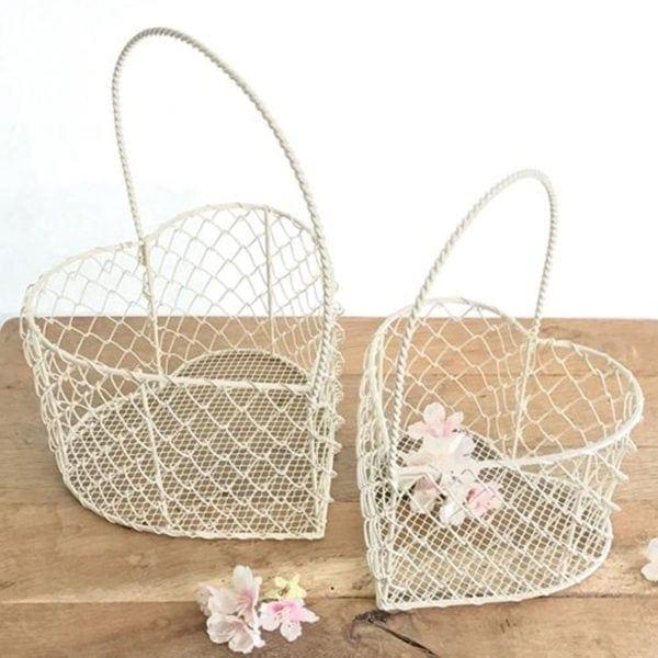Cream Wire Heart Basket Medium