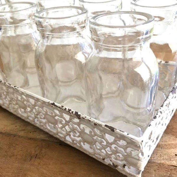 Filigree Tray with 14 x Glass Bottles Close Up