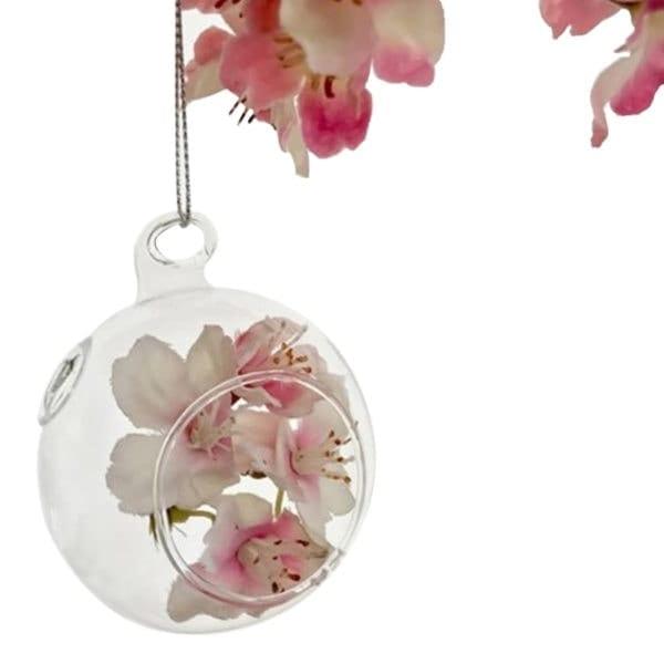 Glass Hanger Ball - Small white