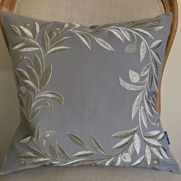 Grey Linen Cushion with Olive Wreath Embroidery