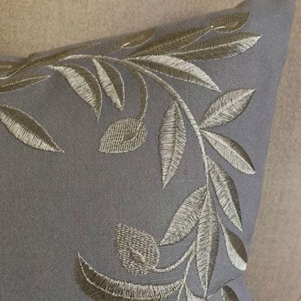 Grey Linen Cushion with Olive Wreath Embroidery Close Up