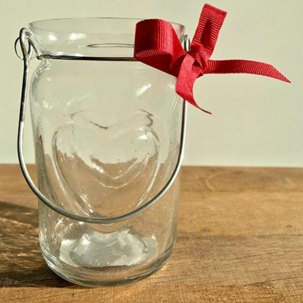 Heart Tea Light Jar with Red Grosgrain Ribbon Bow