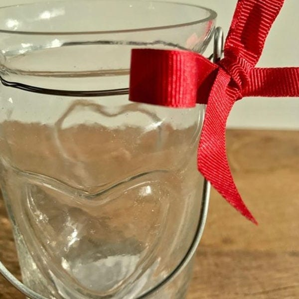 Heart Tea Light Jar with Red Grosgrain Ribbon Bow Close Up