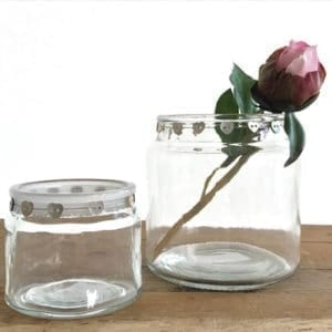Jar with Mother of Pearl Heart Trim - Large x2