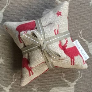 Lavender Filled Stag Cushion Set with Neutral Ribbon