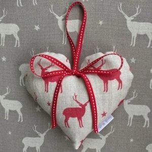 Lavender Filled Stag Linen Heart Hanger