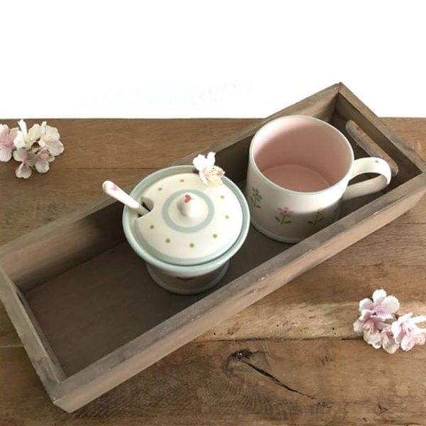 Long Wooden Rustic Tea Tray