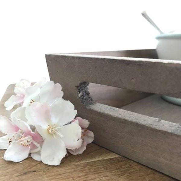 Long Wooden Rustic Tea Tray Close Up