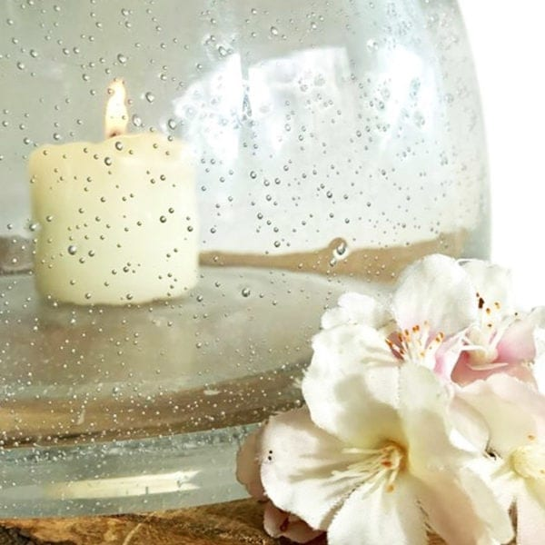 Recycled Glass Vase - Candle Holder Close Up White