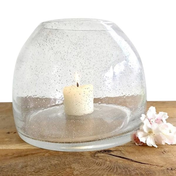 Recycled Glass Vase - Candle Holder White