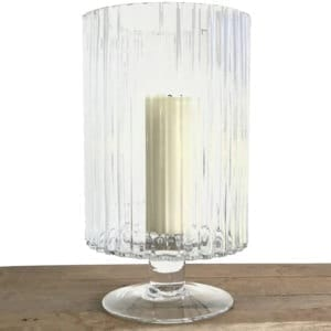Ribbed Cylinder Vase on Base White