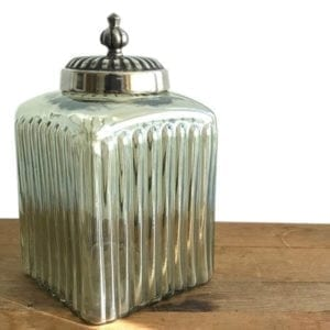 Ribbed Jar with Metal Lid White
