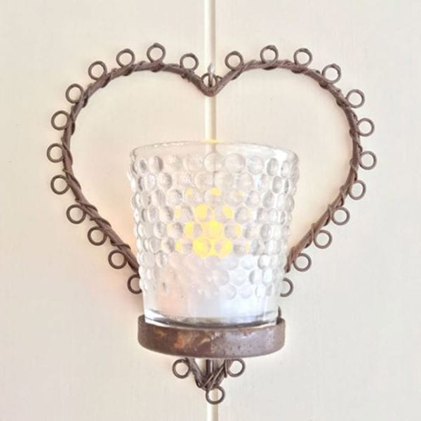Rococo Heart Wall Hung Votive with Hobnail Glass Detail